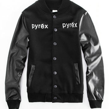 Black Letters Number 23 Print Long Sleeve Baseball Jacket with PU Leather Accent