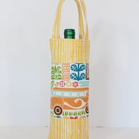 Wine Tote Padded Wine Bag with Patchwork Tropical Fabrics Great Hostess Gift