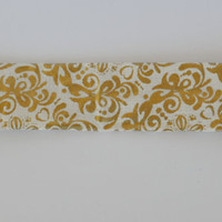 Gold and Cream floral pattern cotton fabric headband, no slip adult women's elastic yoga headband, sports workout headband