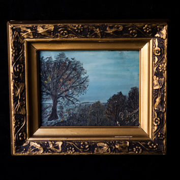 Vintage Oil Painting Artwork Vintage Gold Frame Blue Landscape from Bovaria