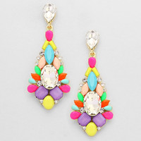 Classy Floral Drop Earrings Multi Mix