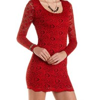 Strapy-Back Two-Tone Lace Dress by Charlotte Russe - Red