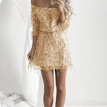 Yellow Patchwork Sequin Grenadine Bandeau Off Shoulder High Waisted Club Mini Dress