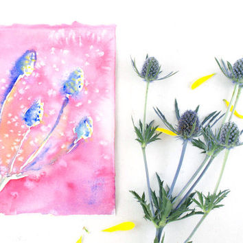 Botanical Art - Original Abstract Watercolor Painting - Pink - Purple