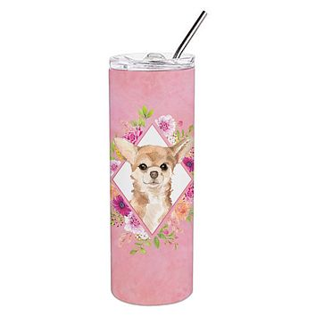Chihuahua Pink Flowers Double Walled Stainless Steel 20 oz Skinny Tumbler CK4245TBL20