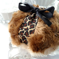 Powder Puff - Leopard design - two toned brown plush - gift boxed by BonnyBubbles
