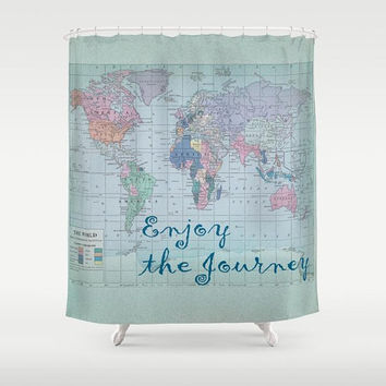 World Map Shower Curtain - enjoy the journey - fabric - Home Decor - Bathroom - travel decor