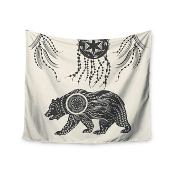 "Famenxt ""Boho Ornate Bear"" Beige Black Wall Tapestry"