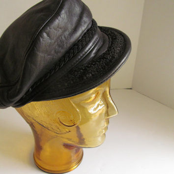 Vintage Classic Black Leather Hat Winchester NH Blick Leather Hat Sz L Leather Captain Hat Black Leather Newsboy Hat Motorcycle Accessories