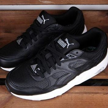 DCCKIJ2 Puma R698 Core Leather 360601-02 Running Sport Casual Shoes Sneaker Black