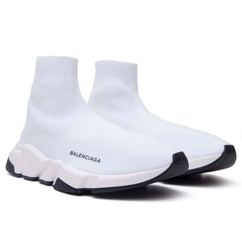 BALENCIAGA $695 White Speed Trainer Sock Sneaker