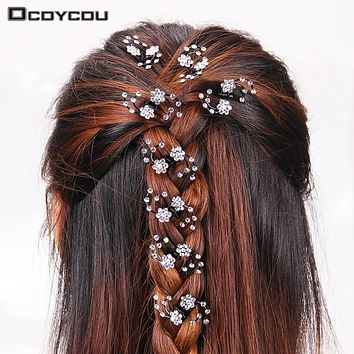 6PCS/1 pack Wedding Bridal Hair Claws Women Mini Headwear Rhinestone Snowflake Hair Clips Flower Hairpins Hair Accessorie