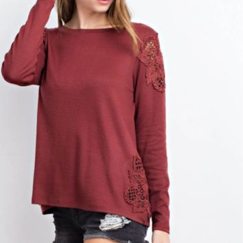 Crochet Patch Long Sleeve Knit Top