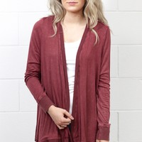 Lattice Back Mineral Wash Cardigan {Burgundy}