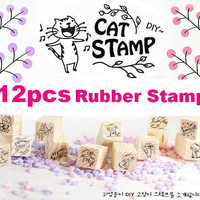 Cartoon Cat stamp little kitty rubber stamp set singing cat dancing cat wooden Rubber set DIY korea Stamp Set handmade craft tool pet stamp