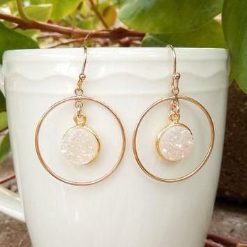 White Druzy Earrings Gold Chandelier Drusy Hoops Quartz Drops - Free Shipping Jewelry