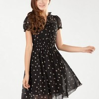 Kawaii Lolita Polka Dots Slim Fit Short Sleeve Chiffon Dress - Apricot or Rose - M L XL from Tobi's Finds