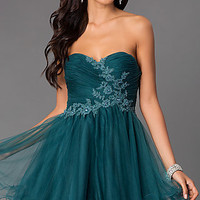 Short Strapless Sweetheart Alyce Dress 3649