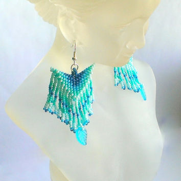 Beaded Dangle Earrings-Ethnic Earrings-Earrings With Fringe-Fringe Dangle Earrings-Blue,Turquoise Fringe Earrings-Beadwoven Earrings