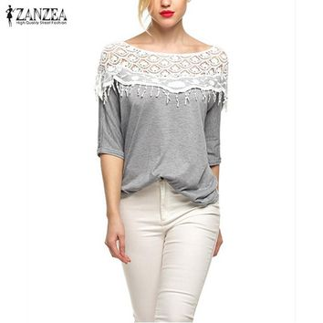 Plus Size S-5XL 2017 New Blusas Femininas Casual Summer Tops Women Hollow Crochet Shawl Collar Lace Top Blouse Shirt Clothing