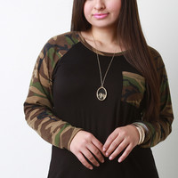 Sleeve And Pocket Camouflage Raglan Top