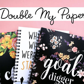DOUBLE PAPER - Writing journal, spiral notebook, bullet journal, sketchbook, diary, extra paper, double pages