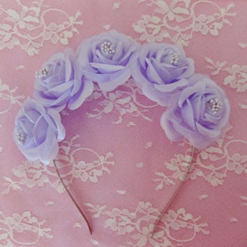 Lily Flower crown- Pastel goth purple roses