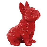 Urban Trends 38459 Ceramic Sitting French Bulldog Figurine with Pricked Ears Gloss Red Finish
