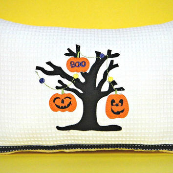 Halloween Accent Pillow Pumpkins Boo Tree Branch Black White Decorative Repurposed