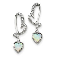 Sterling Silver White Opal And CZ Heart Post Earrings