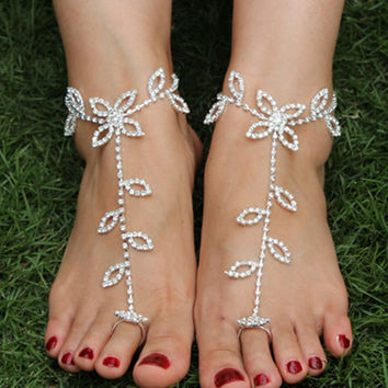 Silver Rhinestone Floral Toe Ring Barefoot Sandals