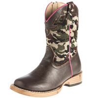 Infant Roper Brown Camo and Pink Piping Cowgirl Boot