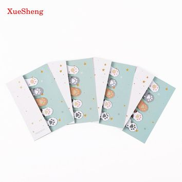 3PCS 5 Colors Cute Mini Cat Paw Memo Notepad Notebook Memo Pad Self-Adhesive Sticky Notes Bookmark Gift Stationery