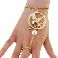SALE the hunger games mocking jay bracelet ring GOLD tone/mockingjay bracelet ring/both sides