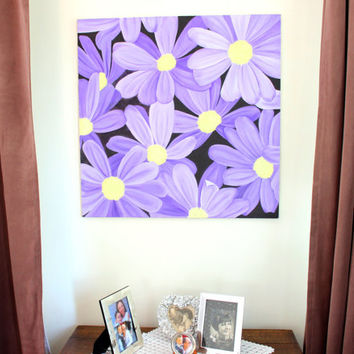"31""x31"", Original Oil painting flowers, Purple Flowers on canvas, Office wall art, Square oil painting on canvas, Big oil painting"
