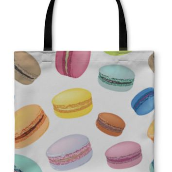 Tote Bag, Pattern With Colorful Macaroons Cookies