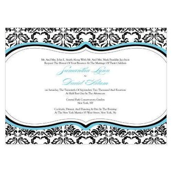 Love Bird Damask Invitation Vintage Gold And Charcoal (Pack of 1)
