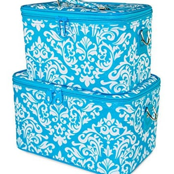 Ever Moda Cosmetic Train Case Set, Damask Print (Teal Aqua Blue)