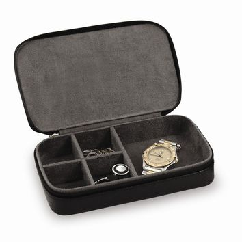 Leather Jewelry Box w/Zippered Closure Available in Black/Brown - Perfect Gift