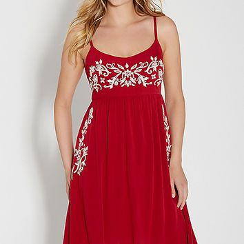 fire red dress with embroidery | maurices