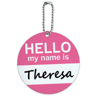 Theresa Hello My Name Is Round ID Card Luggage Tag