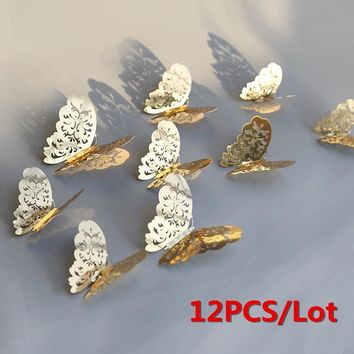 12pcs/lot 3D Hollow Butterfly Wall Stickers DIY Home Decor Poster Rooms Party Wedding Decoration