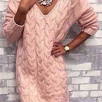 Casual Pink Plain Irregular V-neck Long Sleeve Oversize Pullover Sweater