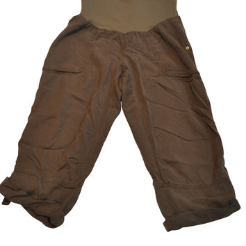 Brown Linen Blend Capri Pants by A Pea In The Pod