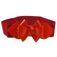 Faux Leather Bowknot Press Stud Button Elastic Waist Belt Red
