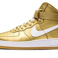 Nike Mens Air Force 1 High Retro QS Metallic Gold-White Leather air force ones nike