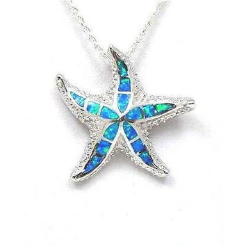 INLAY OPAL STERLING SILVER 925 HAWAIIAN OCEAN SEA STAR STARFISH PENDANT MEDIUM