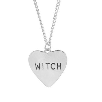 Witch necklace heart engraving gothic witchcraft Wicca Halloween Goth jewelry women necklace gift for witches #277426