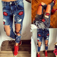 Loose hole denim straight jeans pants trousers lip print