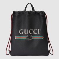 Gucci - Gucci Print leather drawstring backpack